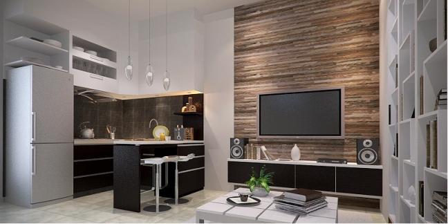 Desain Interior Ruang Keluarga dan Dapur + Mini Bar